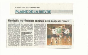 DL, Mercredi 23 Avril 2014 : les féminines en finale de coupe de France